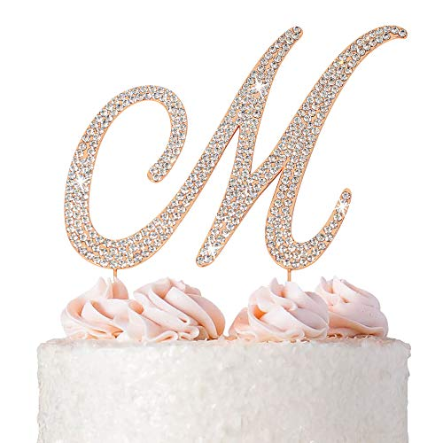 Letter M Cake Topper - Premium Rose Gold Metal - M Monogram Wedding or Anniversary Party Sparkly Rhinestone Initial Decoration Makes a Great Centerpiece - Now Protected in a Box