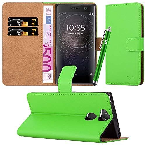 Funda para Xperia XA2 Teléfono Funda Cuero Magnético Flip Wallet Titular de la tarjeta Libro Soporte Vista Cubierta Protectora Para SONY Experia XA2 (Verde)