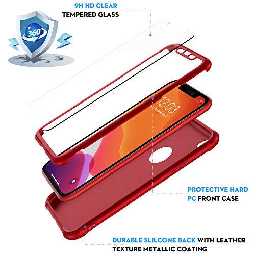 ORETECHiPhoneXR用ケース保護フィルム強化ガラス2枚付き耐衝撃対応アイフォンXR用カバーレッド