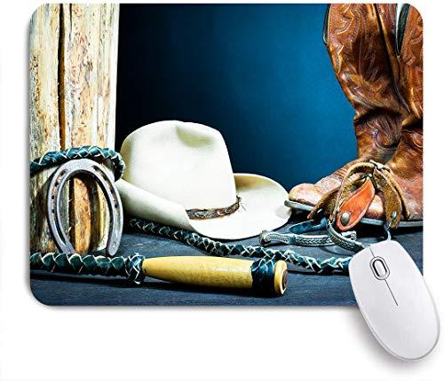 Aliciga Gaming Mouse Pad Rutschfeste Gummibasis,Pferdesport-Hintergrund mit antiker Hufeisen-Hut-Cowboy-Texas-Fotografie,für Computer Laptop Office Desk,240 x 200mm
