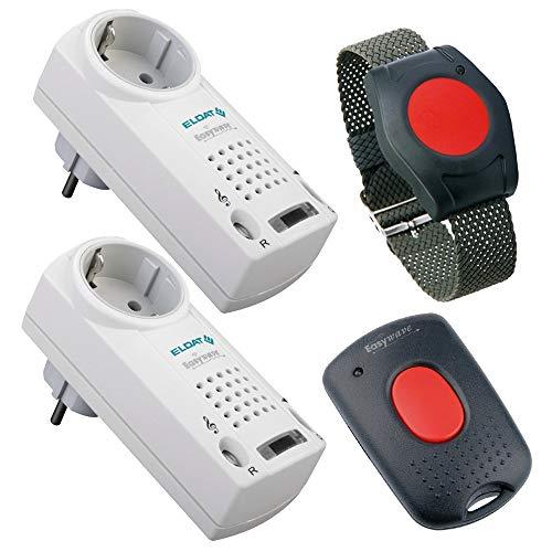 ELDAT Senioren Sicherheitspaket 5 Plus: Hausnotruf mit wasserdichtem Notrufarmband, 2 Funk Empfängern und Quittierungssender für häusliche Pflege; Notrufsystem mit Notruf Armband; Pflegeruf Set