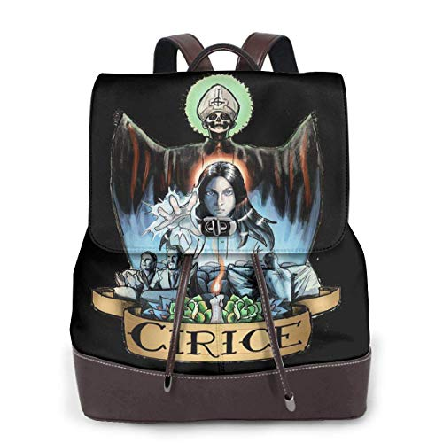Ghost with The Bands Logo dames rugzak leder multifunctioneel College School Laptop Book Bag