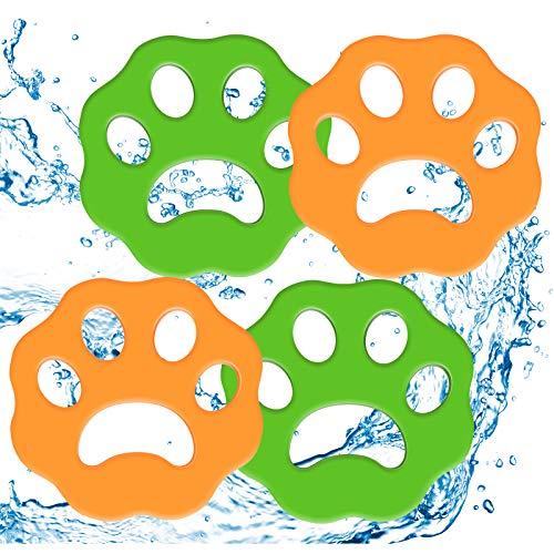Tierhaarentferner für Wäsche 4er Pack Wäschehaarfänger Waschmaschine Flusenentferner Wiederverwendbarer Tierfellwäscher Fänger Haarentferner für Wäsche (Green-orange)