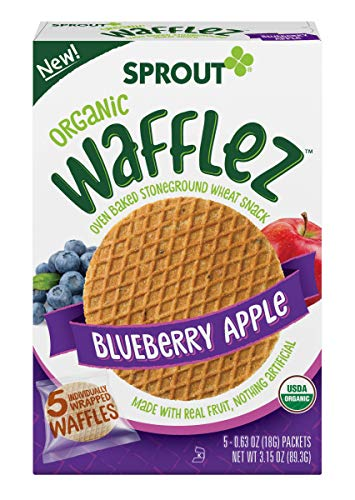 Sprout Organic Wafflez, Blueberry Apple, Box of 5 Toddler Snacks
