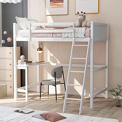 Nyaste loftsäng för barn och tonåringar, loftsäng i massivt trä med skrivbord och säkerhetsskena, ingen lådafjäder behövs