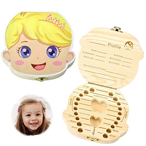 Caja de dientes para bebés,Caja de Almacenamiento de Dientes,Dientes de Leche Souvenir Caja (Chica de color)