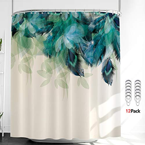 Riyidecor Peacock Feather Shower Curtain Thicken Heavy Duty Watercolor 12 Metal Hooks Weighted Hem Green Leaf Floral Teal Blue Vibrant Polyester Fabric Waterproof Bathroom Home Decor Set 72Wx72H Inch