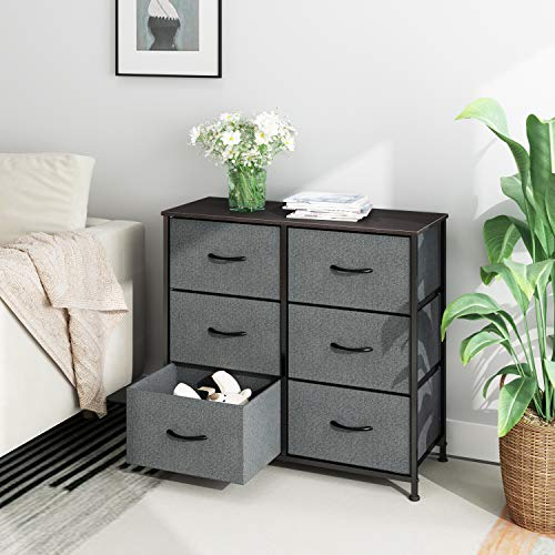 WLIVE Vertical Storage Tower, Dresser with 6 Easy Pull Fabric Drawers, Sturdy Metal Frame, Wood Tabletop, Easy Pull Handle, Organizer Unit for Bedroom, Hallway, Nursery, Entryway, Closets,Black Walnut