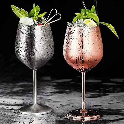 Copas de cóctel, 50 0ML / Conjunto de Vidrio de Flautas de Metal de 2, Resistente a Prueba de Vino Blanco Copa de cócteles de Vino cálizas de Jugo de Bebida champán Copa de champet