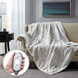 Hyde Lane Electric Sherpa Throw Blanket | 60x70 Premium Oversized Plush Heated Blankets | Snow Leopard | Machine Washable | Extremely Cozy & Soft | 3 Heat Settings | Auto-Shutoff