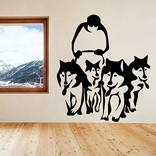 Hetingyue muurschildering, motief: husky hond husky slee, van vinyl, muurkunst, muursticker, voor thuis, woonkamer, decoratie