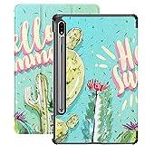 Funda Galaxy Tablet S7 Plus de 12,4 Pulgadas 2020 con Soporte para bolígrafo S, Hello Summer Cactus Set Funda Protectora con Soporte mínimo y Delgado para Samsung