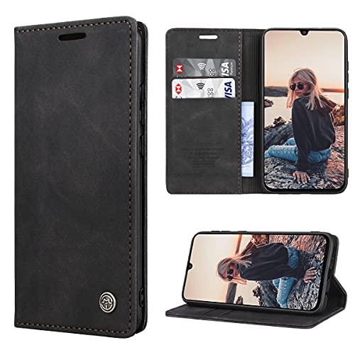 RuiPower Handyhülle für Samsung Galaxy M31 Hülle Premium Leder PU Flip Hülle Magnet Klapphülle Lederhülle Silikon Bumper Schutzhülle für Samsung Galaxy M31 Tasche - Schwarz