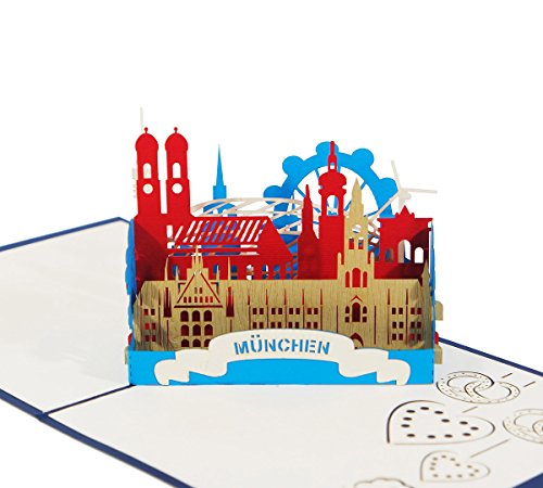 3D KARTE München I Pop-Up Karte als Reisegutschein, Geburtstagskarte, Geldgeschenk, Glückwunschkarte I Klappkarte als Urlaubskarte, Andenken, Deutschland Souvenir