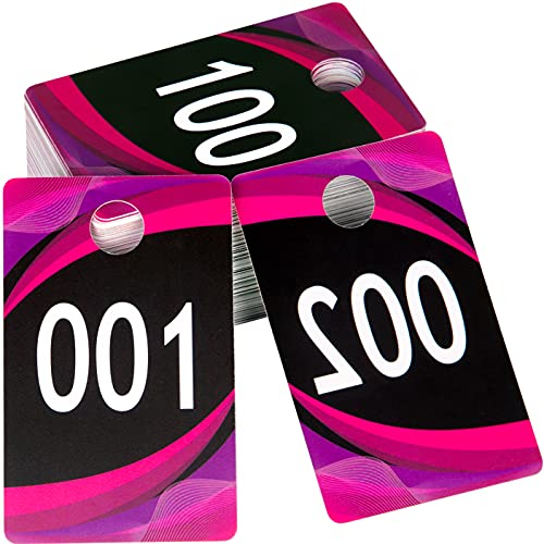 AlExuz Large Live Sale Plastic Number Tags for Facebook Live Sales and LuLaroe Supplies, Normal and Reverse Mirrored Image Hanger Cards, Reusable Coat Check Tags, 100 Consecutive Numbers Black 001-100