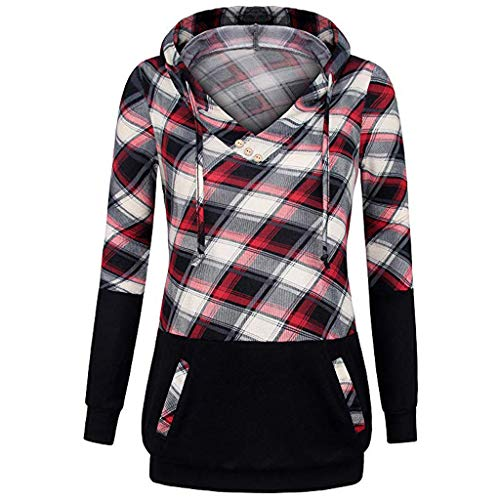 Langarmshirt Damen Bluse FGHYH Frauen-Lange Hülsen-Plaid-Pullover-Farben-Block-mit Kapuze Känguru-Taschen-Hemd-Oberseite(S, rot)