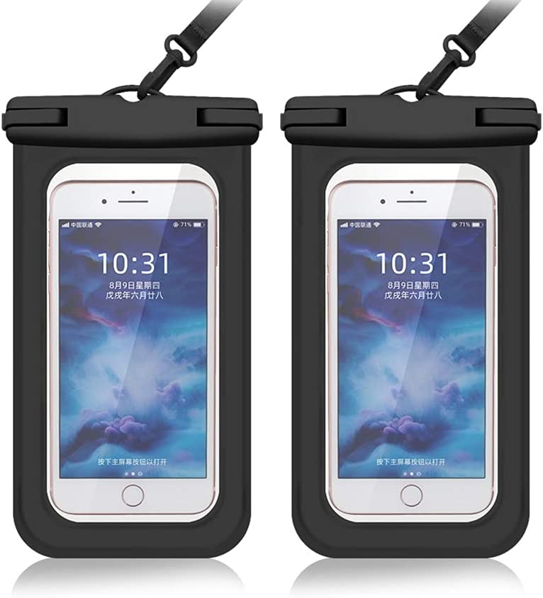 Cexoda Universal Waterproof Case,Waterproof Phone Pouch Compatible,Cellphone Dry Bag Pouch for iPhone 12 Pro Max 11 Pro Max Xs Max XR XS-2Pack (Black&Black)