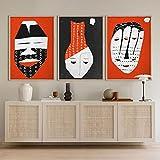 SHKJ Máscaras Tribales africanas Minimalistas Carteles de Arte de Pared Abstracto, collages étnicos Negros y Rojos, Retratos de Mujeres afroamericanas 60x90cm / 23.6'x35.4 X3 Sin Marco