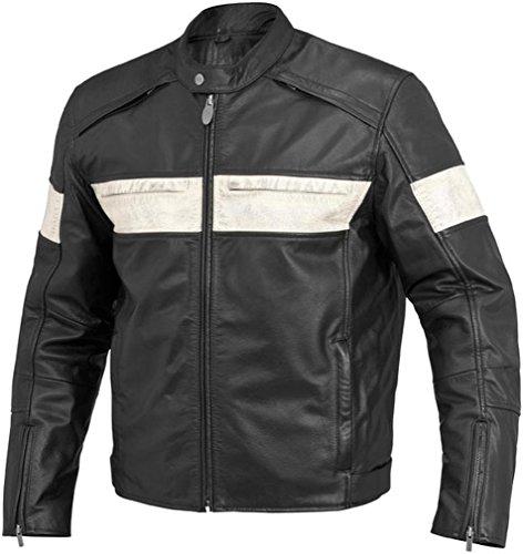 River Road Twin Iron Leather Jacket - Black/White Size 46 - 13/J/3652 TR