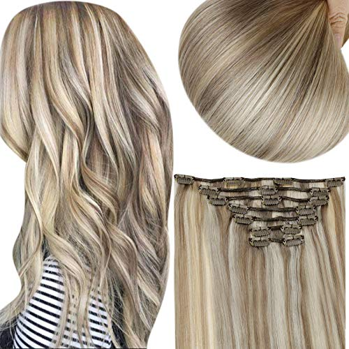 Full Shine Clip In Hair Extensions 100 Gram Clip Extensions For Women 7 Pieces Clip In Ash Brown Extensions Color 8 Highlight 60 Blonde Hair Extension Clip Ins 20 Inch Human Hair Clip In Extensions