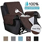 100% Waterproof Non-Slip Furniture Covers for Leather Recliner Covers for Large Recliner Seat Width Up to 30 Inch Couch Covers with Non Slip Backing (Oversized Recliner: Seat Width Up to 30', Brown)