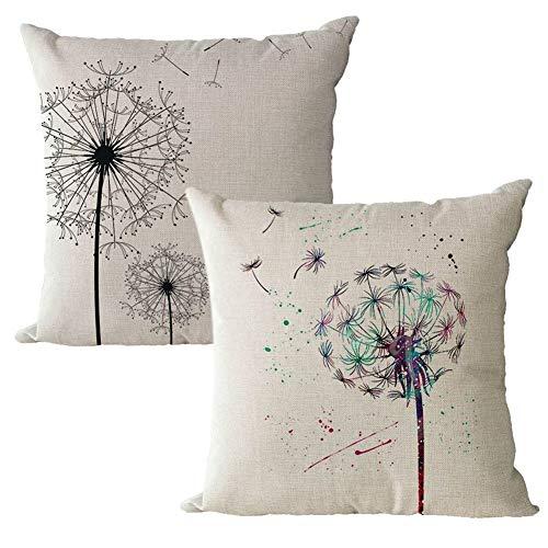 Gspirit Funda Cojines 2 Piezas Diente de león Romántico Patrón Algodón Lino Decorativo Throw Pillow Case Funda Almohada 45x45cm