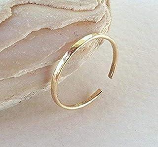 14K,18K Solid Gold Toe-Midi-Knuckle Hammered Ring Stackable Minimal Open Band Adjustable size