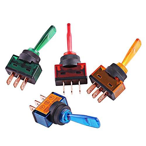4 Pcs Interrupteur à Bascule, Keenso 12V 20A LED On/Off 3 Broches SPST Commutateur à Bascule LED pour Voiture Camion Auto Bateau Etanche Interrupteur Marche/Arrêt