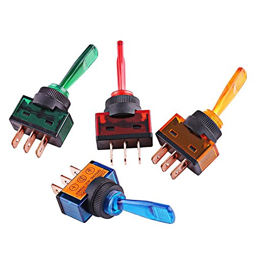 4 pcs de Interruptor basculante a prueba de agua, 12V 20A LED 3 pines SPST Toggle Rocker Switch Interruptor de luz LED