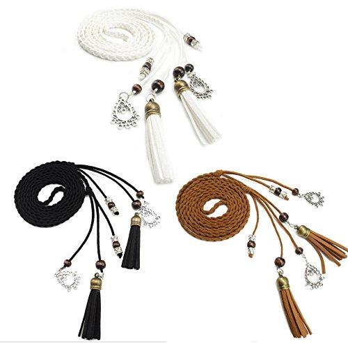 Exotische Damen Mädchen Gürtel Bauchkette mit Quaste und Holzperlen 150cm Lang Geflochtene Waist Belt (schwarz tan weiß)