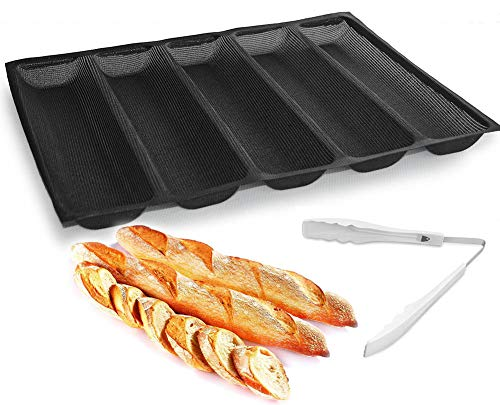 Silicone Baguette Moulds Hot Dog Bun Mold Bread Bun Mold Pans Non Stick Reusable Sandwich Baking Form French Bread Pan Hoagie Roll Baking Pans Perforated Mould 5 Loaf Bread Pans + Food Tongs Pans