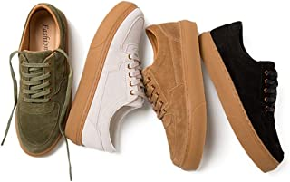 ZUAN Fashion Sneaker for Men Nonchalant Gymnastic Shoes Lace Up Style Retro Suede Genuine Leather Thick Heel Outdoor Leisure