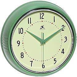 Retro 9 inch Silent Sweep Non-Ticking Mid Century Modern Kitchen Diner Wall Clock Quartz Movement Retro Wall Clock Decorative (Green)