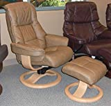 Fjords Loen Small Ergonomic Recliner Chair with Ottoman in Cappuccino NL 128 Nordic Line Leather with a Lite Oak Wood Stain Base