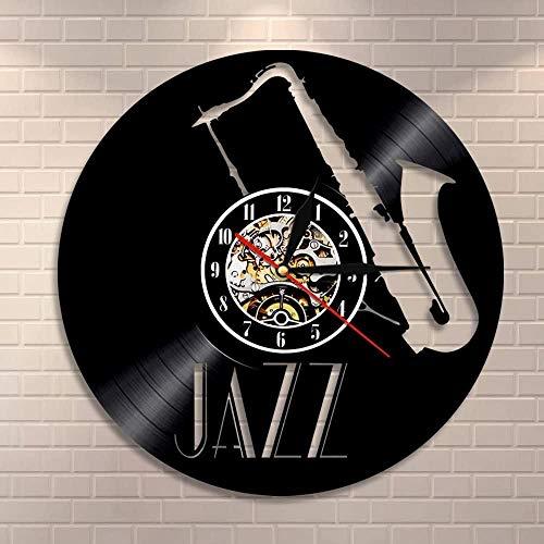 GVSPMOND Reloj de Pared saxofón Instrumento Musical Colgante de Pared Art Jazz Reloj de Pared Disco de Vinilo Reloj de Pared Retro Rock Music Lover Regalo 12 Pulgadas