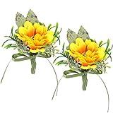 Amosfun 2 unidades de flores de girasol en ojal, tela de seda, flores artificiales, novio, novia, corpiño para boda, fiesta, decoración pastoral (color surtido)