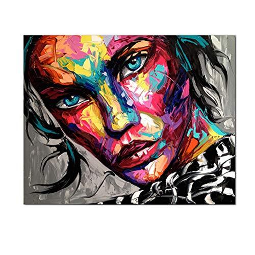 Pintura De Cuadros Mural, Retrato De Rostro De Mujer Negra Afro Pintura Colorida Lienzo Pintado A Mano Con Textura Gruesa De Knife Art Carteles De Arte Pop Abstracto Moderno,70 * 80cm