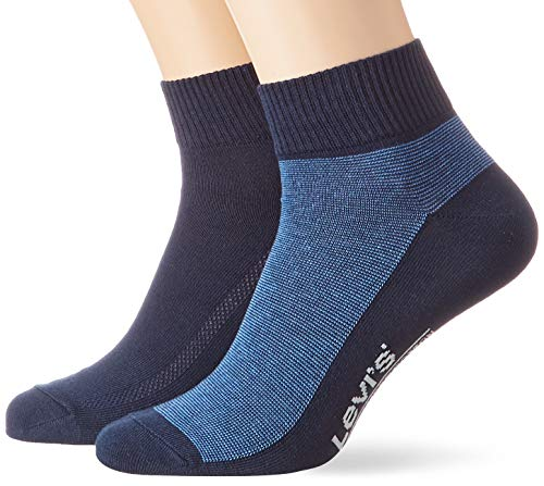 Levi's Herren Levis 168SF MID Cut Micro Stripe 2P Socken, Blau (Blue Depths 180), 43/46 (Herstellergröße: 043)