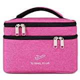 Goldwheat Makeup Bags Double layer Travel Cosmetic Cases Make up Organizer Toiletry Bags (Pink)