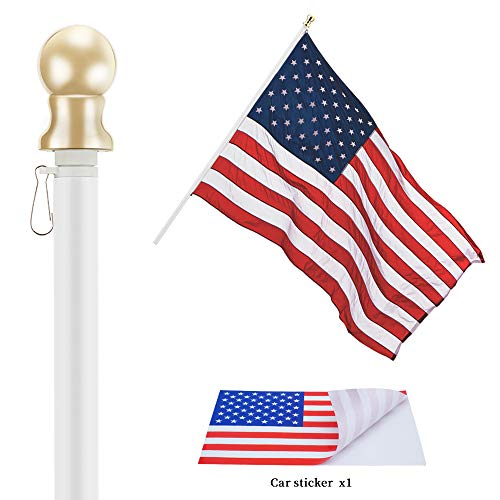 Jetlifee Tangle Free Spinning Flag Pole - Veterans Owned Biz. 6ft Aluminum No Tangle Spinning Pole White Colored Globe Rust Free Wind Resistant, Residential Commercial Use(Flag Pole Only) - White