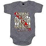 Body bebé además de ser Rayista soy un padrazo futbolero de Vallecas - Gris, Talla única 12 meses