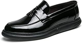 Oap Shoes For Men Men's Business Oxford Patent Leather Round Toe Flat Heel Leisure Shoes dt (Color : White, Size : 41 EU)