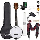 Banjo Ukulele Concert Size 23 Inch With Bag Tuner Strap Strings Pickup Picks Ruler Wrench Bridge (Natural)
