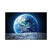 月面地球ポスターとプリントギャラクシースター惑星穴スペースウォールアートパネル宇宙地球隕石キャンバス絵画インテリア寝室の装飾50x70cmx1フレームなし