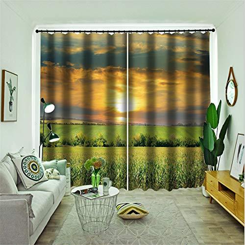 FACWAWF Página De Inicio Imagen De Paisaje 3D Tela De Poliéster Dormitorio Sala De Estar Cortina para Sala De Estudio 132x160cm(2pcs)