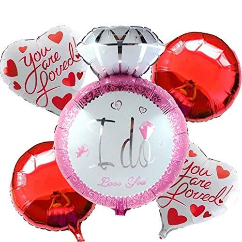 DIWULI, 5 Teile Hochzeit Luftballons, I do Love You, Diamanten-Ring, Ja ich Will, pink rot, Just Married Folien-Luftballon, Folien-Ballon Hochzeitsfeier, Hochzeit, Dekoration, Herz-Ballon, Herz-Form