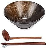 GCE Ciotola di Ramen in Porcellana Giapponese Fatta a Mano da 800 ml con Bacchette e cucchiai Set di Ciotole Grandi per Noodles Udon pho Pasta zuppa Insalata 8 Pollici