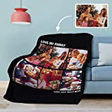 VEELU Custom Blanket Personalized Collage Blanket with Photos Text Multicolor Customized Picture Throw Blanket for Adult Kid Birthday Christmas Halloween New Year Mom Dad Valentines Day Gift 30'x40'