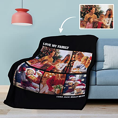 Manta Personalizada Mantas de Lana de Collage de Fotos Personalizadas Cálidas de Invierno - Regalos de Foto de Cumpleaños de Boda Bebé Pareja Sofá Cama 76 x 102cm