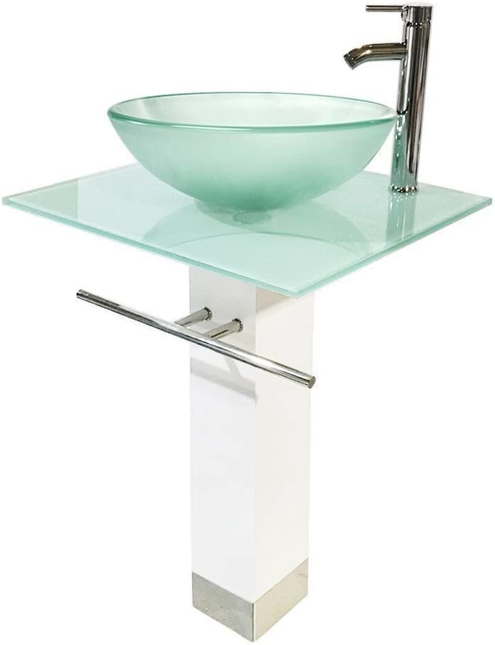 QIERAO Glass Vessel Sink 往復送料無料 Bathroom White + 人気 Vanity Frosted